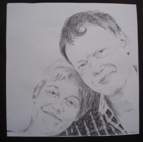 'Kees en Ina' 30x30 Potlood op papier 2006