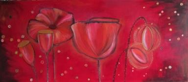 'Klaprozen' € 200,- 60x140 Acryl op doek 2010