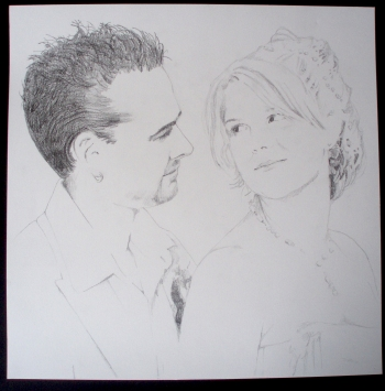 'Meneer en Mevrouw Otten' In opdracht 30x30 potlood op papier 2006