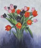 'Tulpen' € 300,- 60x70 Olieverf op doek 2016