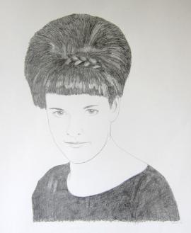 'Vrouw van Jan' In opdracht 50x65 potlood op papier 2014