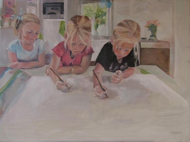 Linde, Evelien en Frederique 70x90cm olieverf op doek