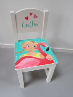 'Catho', kraamcadeau stoeltje in opdracht, acrylverf