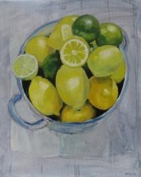 'citroenen'&limoenen' 40x50 olieverf op doek €120,-