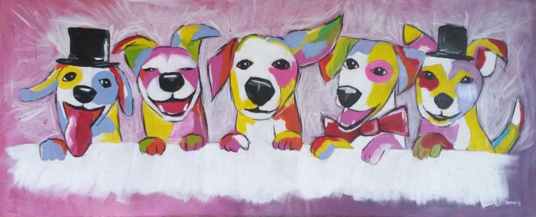 'swinging dogs' in opdracht 120x50 olieverf op doek
