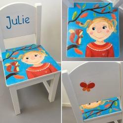 'Julie'. Kraamcadeau stoeltje in opdracht, acryl